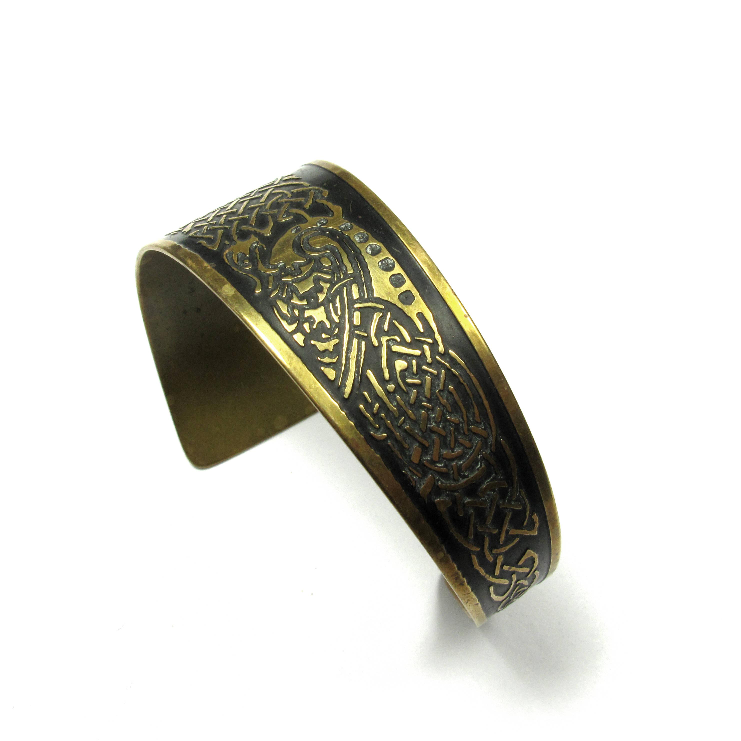 Celtic Brass Cuff Bracelet Asymmetrical Black Detail Medieval