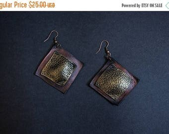 40% OFF SALE Black and bronze leather earrings  Designer jewelry Elegant geometric dangle earrings