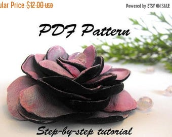 40% OFF SALE Leather rose tutorial. Leather flower PDF pattetrn.
