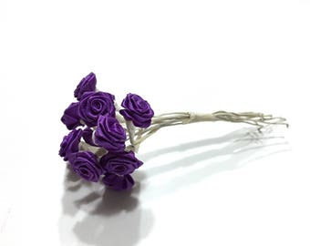 Vintage Purple Flower Pick, Flower Millinary, Purple Silk Flower, 12 Wire Rose Stems, Floral Arrangement, Floral Supplies