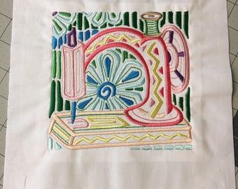 Sewing Machine - Mola - Embroidered quilt block - ready to sew or frame - Mola style 9 inch / sewist / quilter / floral / customizable DIY