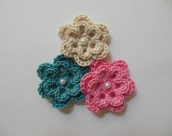 Trio of Crocheted Flowers - Rose Pink, Teal and Ecru with Pearl - Cotton Flowers - Crocheted Flower Appliques - Crocheted Embellishments