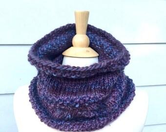 Purple knit cowl scarf, knit infinity scarf, knit infinity loop scarf, knitted endless scarf, purple infinity scarf, purple knit neckwarmer