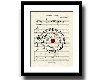 The Beatles And I Love Her Song Lyric Sheet Music Art Print, Custom Wedding & Anniversary Art, Custom Names and Date Art, First Dance