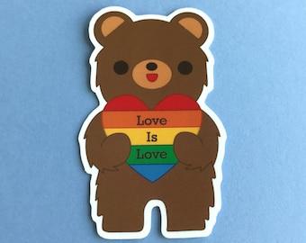 Love is Love California Bear Sticker