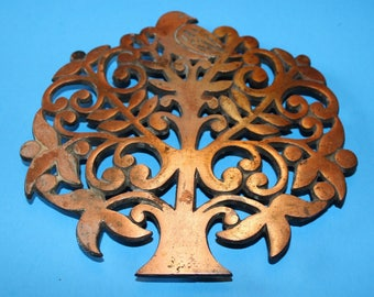Vintage Brass/Copper Trivet, Tree with Birds, 1960's