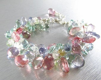 25 OFF Chunky Gemstone and Sterling Silver Cluster Bracelet