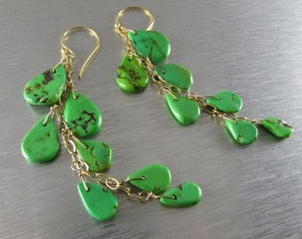 25 OFF Long Green Turquoise Earrings
