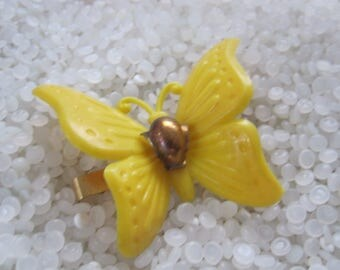 vintage barrettes very large yellow butterfly , yellow and brass