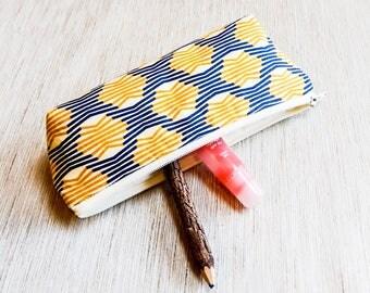 Fabric Zipper Pencil Case, Geometric Fabric Pouch, Pencil Pouch, Zipper Case, Cosmetic Bag, Pouch, School Supply, Geometric Zipper Case