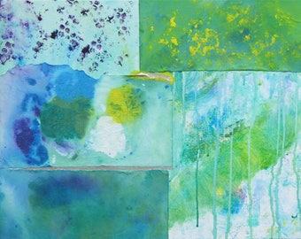 Spring Sonata 16x20 Original Painting Abstract Art Acrylic Mixed Media Green Modern Wall Art Home Decor Canvas