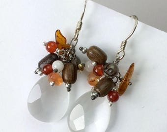 30% SALE White Earrings Multicolor Cluster Dangle Wire Wrapped Sterling Silver Earth Tones Amber Carnelian Summer Earrings Handmade