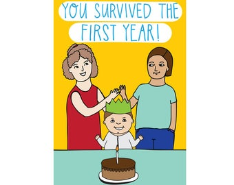 Greeting Card - You Survived The First Year (two mothers)