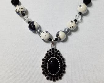 Black and White Ceramic Bead Necklace with Drop Pendant