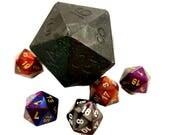 D20 Mourir savon avec Chessex meurent à l'intérieur | Savon noir paillettes D20 | Jeu table savon | Donjons et Dragons au savon | MtG D & D