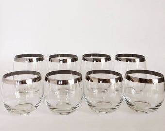 Set of 8 Mid Century Roly Poly Glasses, Mad Men, Silver Rimmed Glasses, Mid Century Barware, Vintage Barware