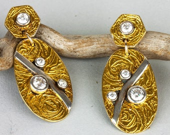 Gold and Silver Sparkling Earrings