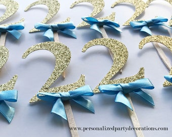 2 Gold Glitter Cupcake Toppers, Boy 1st birthday party, 2nd birthday, 3rd birthday, glitter party decorations – Quick & Free Shipping
