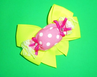 Lime Candy Bow Barrette