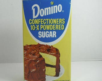 Vintage Domino Sugar Box NOS Domino Confectioners Powdered Sugar Full Box Vintage Kitchen Decor Vintage Baking Movie Prop 1970s 80s Recipes
