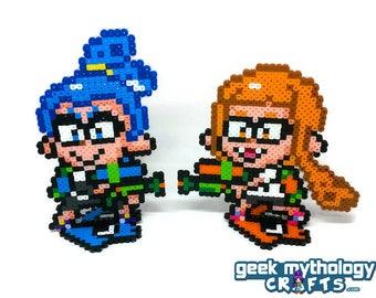 Inkling Boy and Girl - Splatoon-  Nintendo - Perler Bead Sprite Pixel Art Figure Stand