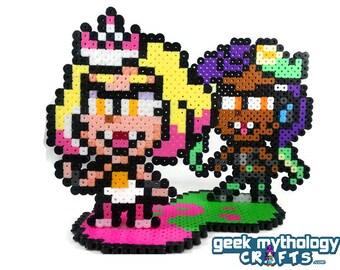 Pearl and Marina Set - Splatoon -  Nintendo - Perler Bead Sprite Pixel Art Figure Stand