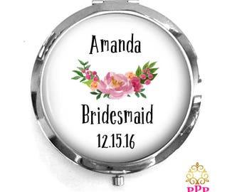 Bridesmaid Personalized Compact Mirror Keepsake Memento Gift Style 698