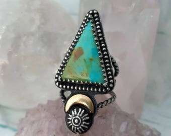 Turquoise Ring with Brass Moon in Sterling Silver Size 5