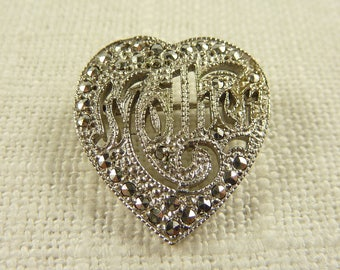 Vintage Deco Sterling and Marcasite Mother Brooch