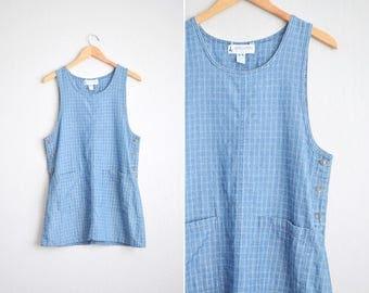 Size S // DENIM POCKET JUMPER // Windowpane Pattern - Blue - Sleeveless Pinafore - Shift Dress - Oversized - Minimalist - Vintage '90s.