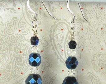 SALE, 50%, Blue AB Czech glass triple drop earrings, prom earrings, dangle earrings