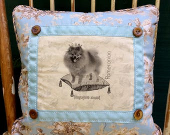 Pomeranian in Crown on Pillow| French Country Decor | Farmhouse Decor | Linen Print on Pillow | Dog with Crown on pillow