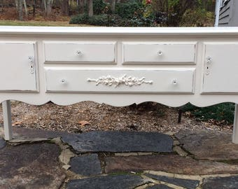 Shabby Chic Sideboard, French Farmhouse, French Country, French Farmhouse Creamy White Distressed Buffet with Rose Appliques