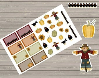 Perfect For The Erin Condren Planner Stickers Fall Stickers Scarecrows Stickers Pumpkins Stickers Half Boxes