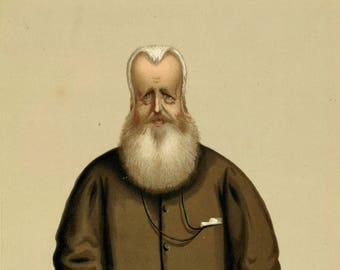 1874 Vanity Fair Caricature - Sir James Hudson - Antique Print