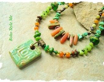 Bohemian Jewelry, Chunky Natural Stone Layered Necklace, Earthy Nature Inspired Necklace, BohoStyleMe, Kaye Kraus