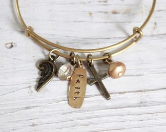 Golden brass bangle charm bracelet.  Faith, vintage, hand stamped, wing, cross.  Confirmation, birthday, graduation gift. Adjustable.