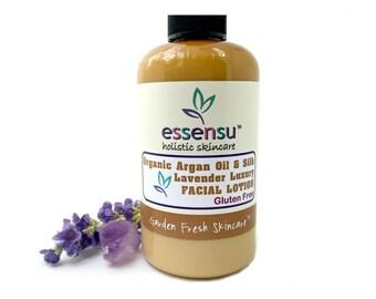 Organic Argan Oil Lavender Silk Protein Natural Luxury Facial Moisturizer | All Skin Types | Sensitive Skin Formula | No Gluten - 4 oz