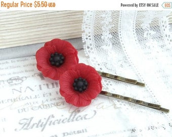 Red Poppy Hair Pins Red Flower Bobby Pins Red Poppies Hair Pin Set Poppy Bobby Pins