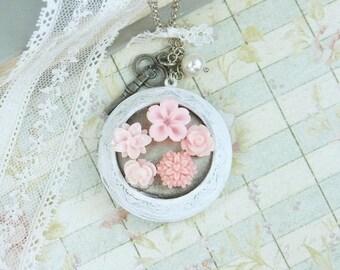 Flower Locket Necklace Victorian Locket Necklace Long Locket Necklace Large Locket Necklace