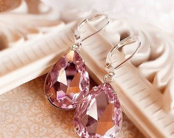 SALE 20% Off Pink Crystal Earrings - Prom Jewelry - Victorian Earrings - Old Hollywood - CAMBRIDGE Pink