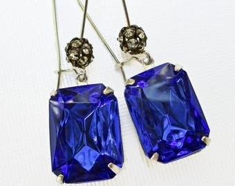 SALE 20% Off Blue Crystal Earrings Art Deco Jewelry Sapphire Blue September Birthstone Jewelry SIlver MADELINE Sapphire