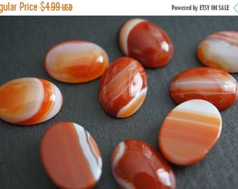 SUMMER SALE Natural Striped Banded Orange White Carnelian Agate Oval Cabochons 13mm x 18mm - 2 piece