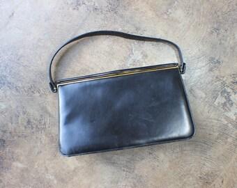 1950's Black Leather HANDBAG / Susan Gail Purse / Vintage Women's Accesory