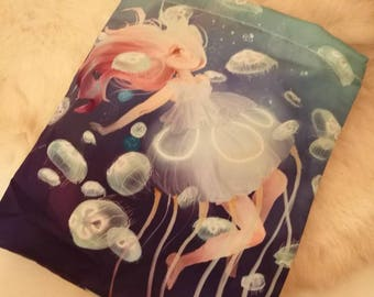 Jellyfish Princess Dress Cosmetic storage bag purse case pouch drawstring cute kawaii makeup pastel blue pink mermaid sea jelly fish