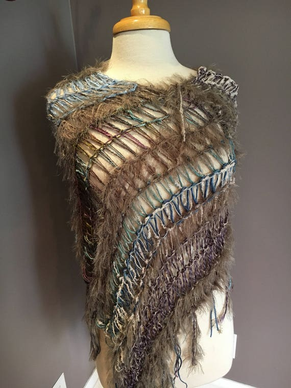 Hand knit Fringed Poncho, kaftan, cover-up, funky knitwear, taupe aubergine tapered poncho, Fringed Wide Knit boho fashion for women, ribbon