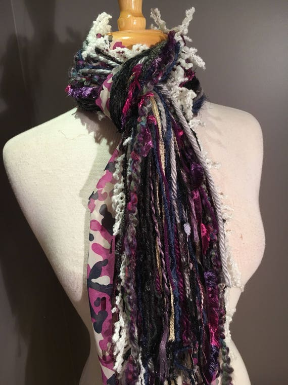 Fringie Scarf, Very Berry, Knotted handmade Scarf, Purple Fuscia black blue, fringe scarf, boho fashion, accessories, ribbon scarf, pattern