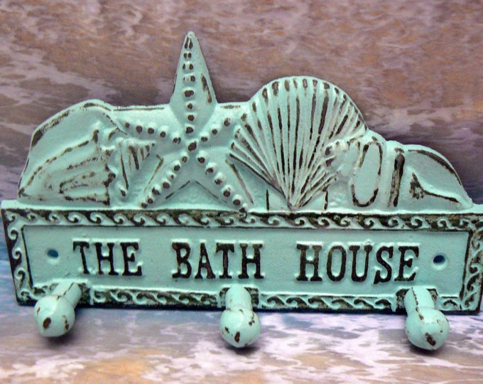The Bath House Cast Iron Wall Hook Starfish Sea Shell Beach Blue Shabby Chic Cottage Chic Home Decor