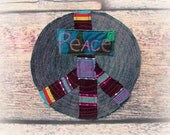 Peace Sign Patch Hippie Applique BackPack Decoration UpCycle Denim Jean Clothing Applique DIY Project Fabric Embellishment Handmade Supplies