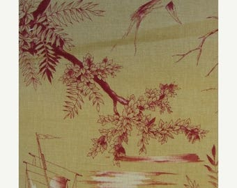 ON SALE Gorgeous Vintage Butterscotch and Red Woven Toile Fabric Sample